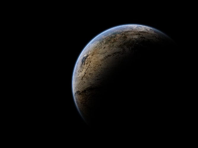 Planet With Atmosphere and Shadow