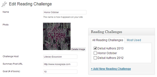Configure a reading challenge, then add it to your post