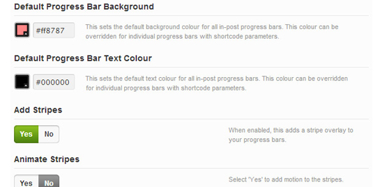 A settings panel to customize the colour of the progress bars