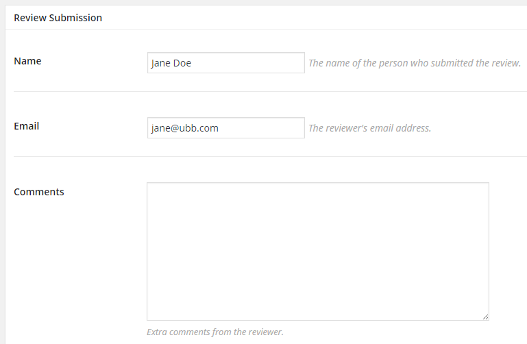Review Submission box on the Edit Post page that contains reviewer contact details
