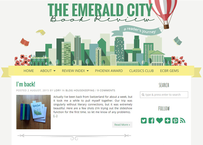 The Emerald City Book Review blog design