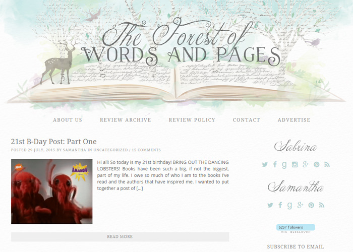 The Forest of Words and Pages blog design