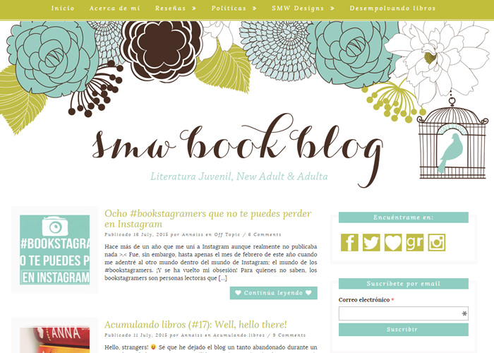 SMW Book Blog blog design
