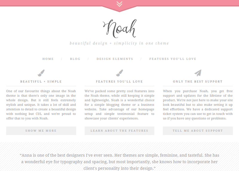 Noah - A beautiful and simple WordPress theme