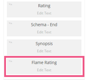 Flame rating box in the book information configuration
