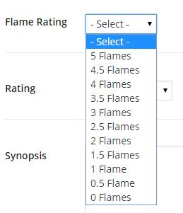 Flame rating dropdown box