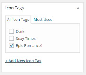 Interface for applying an icon tag to a post
