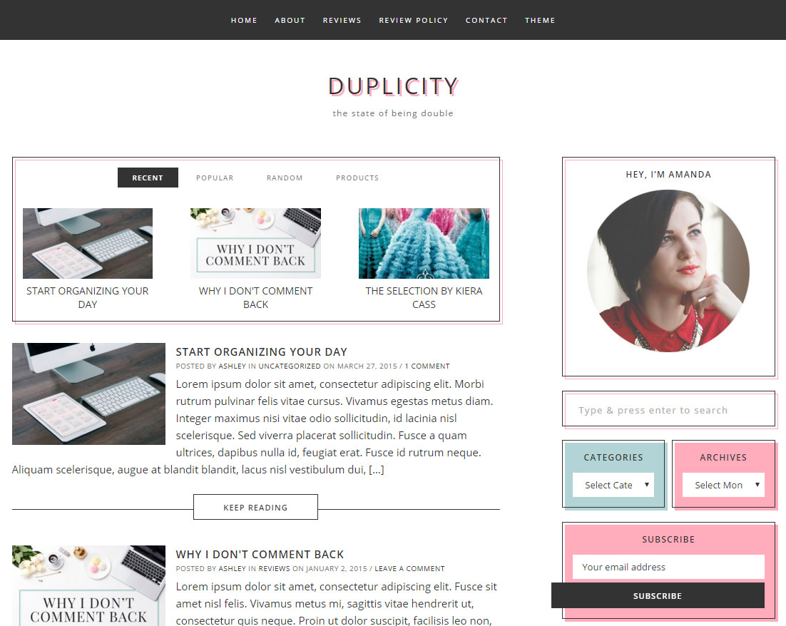 Duplicity theme for WordPress