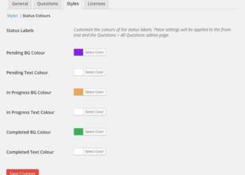 Colour pickers for customizing the status colours