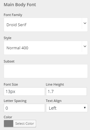 Typography settings for the main body font