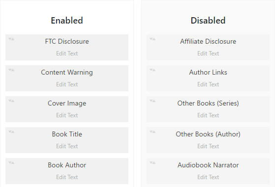 Sortable book information builder