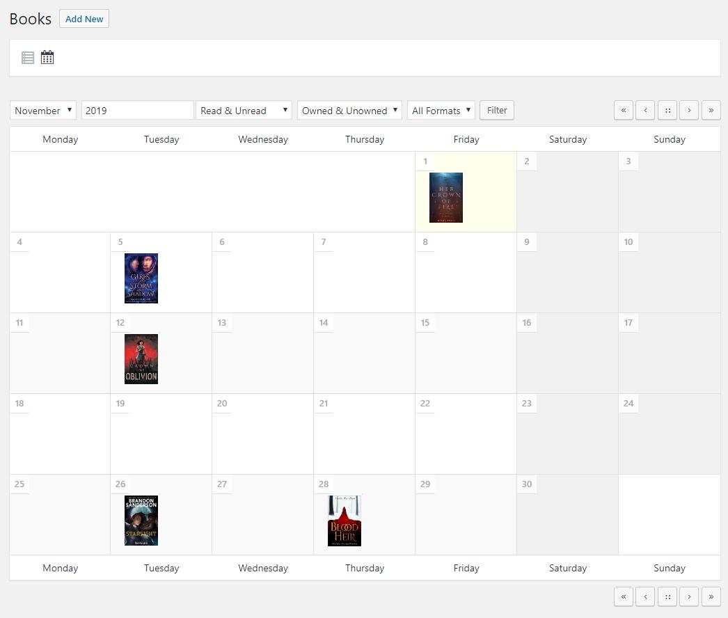Book calendar view